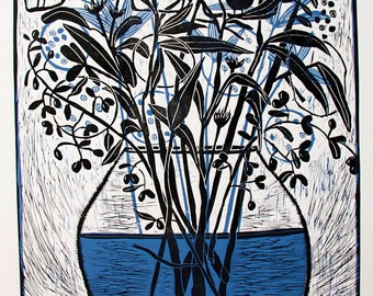 linocut, Fox Run, black, blue, fox, seeds, flowers, pods, vase, printmaking, nature, blue, home interior, cottage style,landscape, flowers