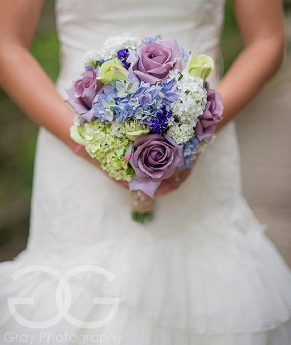Lavender Rose Gypsophila Bridal Bouquet: Garden Wedding Bouquet Lavender Rose Hydrangea Shabby Chic