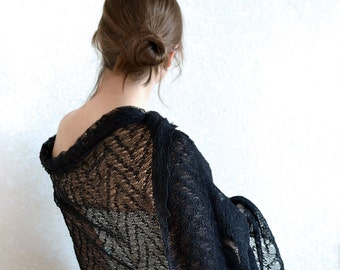 Black Linen Scarf Lace Shawl Occasion Stole Boho Scarf Knitted Wrap Sheer Stole Gauzy Scarf Black Lace Scarf