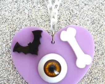 Kyary Pamyu Eyeball, Bat, Bone Necklace Laser Cut Acrylic