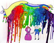 Adventure Time Inspired Art Print  - Finn and Bubblegum - Lady Rainicorn -  Crayon Art - Melted