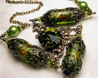 Lime Green Victorian Choker, Crystal Pearl Drop Necklace, Antique Bronze Filigree Titanic Temptations Vintage Steampunk Bridal Style Jewelry