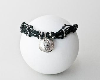 Fish Bracelet, Black Handmade Woven Silver Fish Charm Bracelet, Knotted Macrame Boho Wrist Bracelet, Bracelet Gift for Her, Fish Jewelry