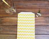 10 Yellow Chevron Paper Bags