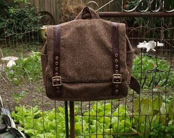 Custom wool backpack with adjustable leather straps- mens womens book bag- laptop carry on travel bag