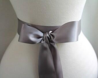 Grey Sash Belt - Heather Grey Satin Sash - Double Faced Satin Ribbon Sash - Bridal Bridesmaids Flower girl Sashes