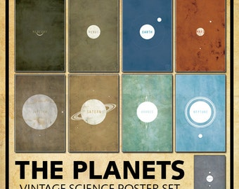 SAVE 15% on the Entire Vintage Solar System // 9 Vintage Textured or Clean Planetary Prints