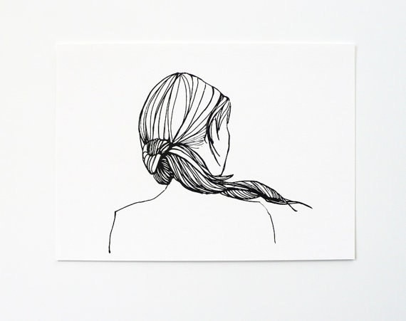 Ponytail girl - Wall art print, Black and white print. Girl iIllustration print, Home wall decor