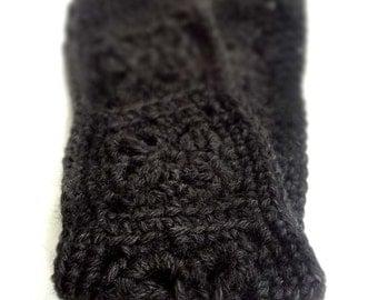 Crochet Headband, Boho Knit Hairband - Wool in Black, Dark Gray