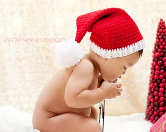 Baby Santa Hat, crochet holiday hat, baby Christmas hat, red with white, Newborn to 12 months, Christmas photo prop
