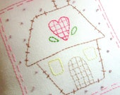 Primitive Stitchery Pillow Heart and Home