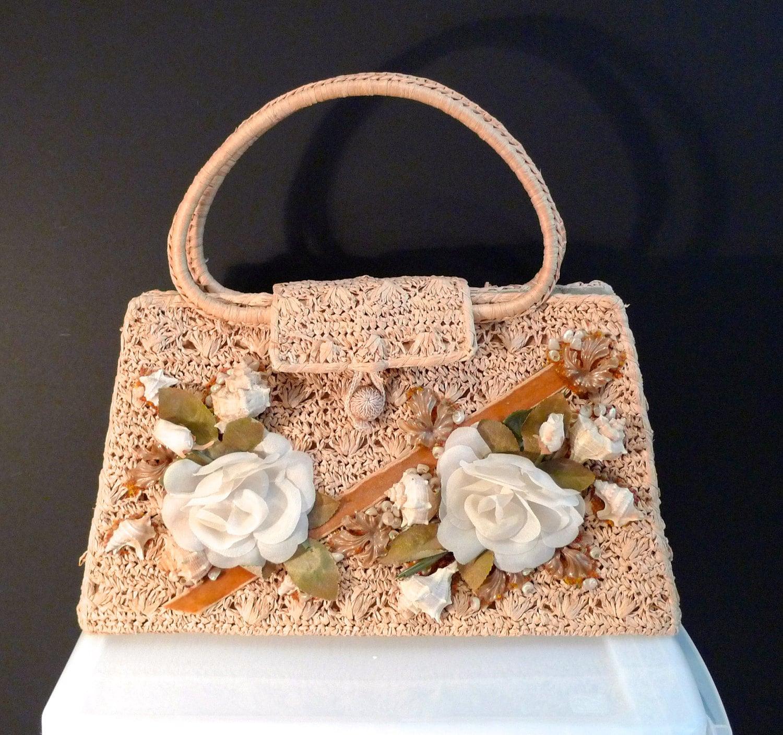 Seashell Bag Crochet Purse With Shells Silk Flowers