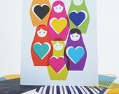 Valentines Card Rainbow Russian Dolls Illustration Blank Wedding Card Notelet