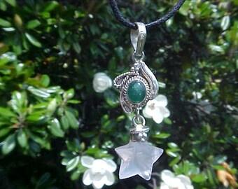AVENTURINE and Rose Quartz Star CUSTOM Designed Pendant in Sterling Silver