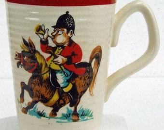 Vintage 1940s Comical Painted Fox Hunt Horse Hunting Bugle Sadler England Pottery Tea Coffee Mug Kitsch