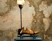 Steampunk lamp, Upcycled lighting, Table lamp, Vintage lighting, Roller Skates lamp, Wooden shoemakers last lamp, Mason jar light, Cool lamp