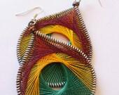 Exotic Bird Peruvian Silken Thread Earrings fancy earrings hoop earrings wire wrapped earrings beautiful handmade earrings dangle earrings