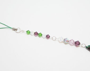 Swarovski Beaded Pendant Suncatcher Purple and Dark Green Electra Rear View Mirror Charm 358