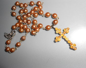 Topaz Cross French Gothic Rosary Style Religious Necklace With Amber Glass Stones Vintage Feminine Beauty