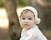 Cream Crochet Baby Bonnet, Wool Cashmere with Flower & Ties, Crochet Easter Bonnet Cream Easter Bonnet, 6 to 12 Month Size (Item 1630)