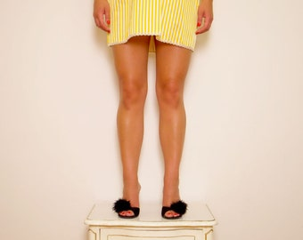Striped Silk Taffeta 'Ginger' Babydoll Slip in Mustard & Cream with matching brief