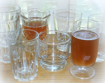 Juice Glasses 8 Eight Assorted Glasses Vintage Different Styles & Shapes Hold Average 4-5 Ounces