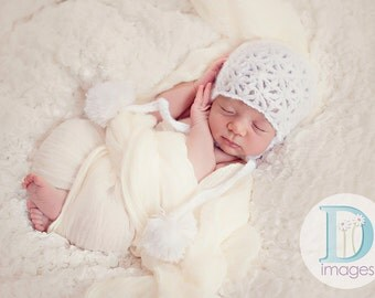 newborn photo prop, newborn hat, mohair beanie with pompoms and tassels,  photography props, newborn girl, baby hat, newborn