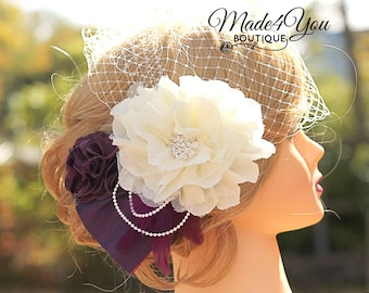 Plum Bridal Veil Fascinator- Wedding Headpiece- Birdcage veil - Available in White Also