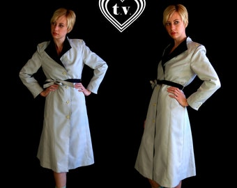 vtg 80s Black and GRAY colorblocked TRENCH COAT belted jacket Medium boho mod