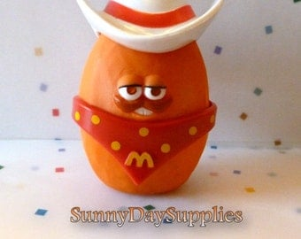 Vintage McDonald's Happy Meal Toys NcNugget Buddies, COWPOKE, Cowboy, Western, Chicken McNugget, 1988, Food Toy