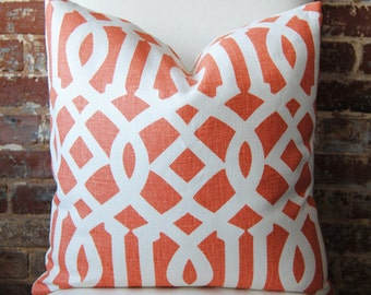 SALE - Imperial Trellis in mandarin / ivory - Pillow Cover - 20 in square - Designer Pillow - Decorative Pillow - Throw Pillow