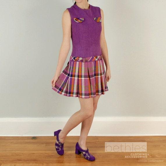 Lark.      1960s Mini Dress Purple Plaid Drop Waist Dress Mod Plaid Twiggy Dress Sleeveless Dress Vintage 60s Scooter Dress Sleevless Dress