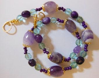 Amethyst on  Aqua handmade necklace  157