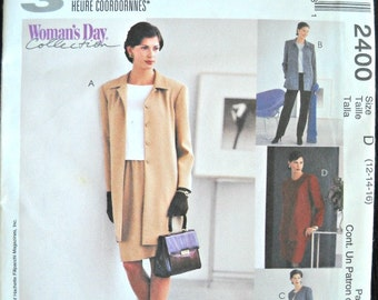 McCall's 2400, Women's Jacket, Top, Pants and Skirt Pattern, Sizes 12, 14, 16