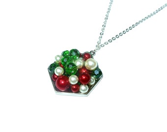Xmas necklace, green red and cream colored crystals and pearls pendant, geometric accessories, OOAK