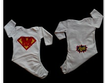 Monogram Baby Boy Clothes  Layette Gown Take home outfit with Superhero Monogram and Pow on he back