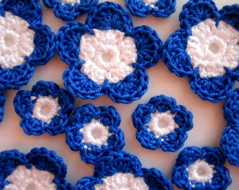 Crochet flower applique navy blue snow white set of 14 crochet