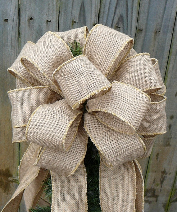 Burlap tree topper christmas tree topper burlap tree for Burlap ribbon on tree