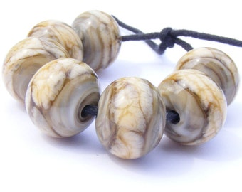 Handmade lampwork bead set of 7 cream, brown and grey/gray organic glass lampwork beads