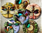 "Steampunk Dream - Digital Printable Downloads - 1.313"" circles for 1"" Buttons - Digital Collage Sheet CG-563B"