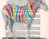 Happy zebra print, colorfull zebra, rainbow zebra, gaypride zebra, print on french vintage paper from around 1900 by Coco de Paris