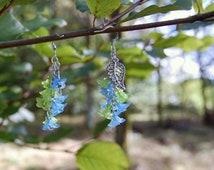 Seaweed earrings - SALE 40% off blue and green flower clusters, elegant lolita fairy jewelry, mermaid, cosplay, forest, dryad, fairytale