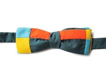 patchwork slim batwing bow tie