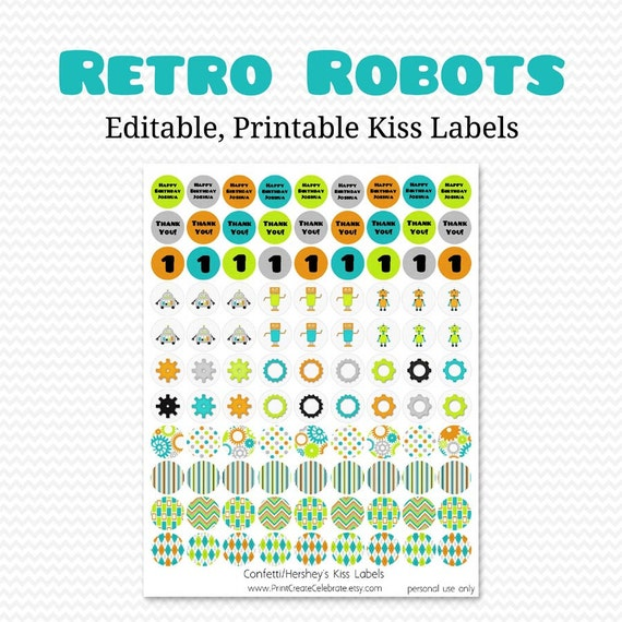 Robot Party Favors, Chocolate Candy Labels, Circle Stickers, Boy Birthday Party, Baby Shower -- Editable, Printable, Instant Download