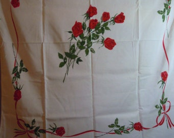 """1950sTablecloth //  Rayon Slight Silky Texture //  Red Roses...48"""" X 52"""""""