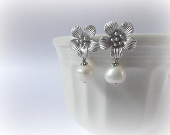 Cherry Blossom Flower earrings - rhodium plated brass posts,white freshwater pearls. gift for her.Bridesmaid gift