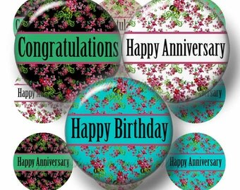 Instant Download, Bottle Cap Images, 1 Inch Circles,  Digital Collage Sheet, Sayings,  Anniversary, Birthday, Congratulations (No.1)