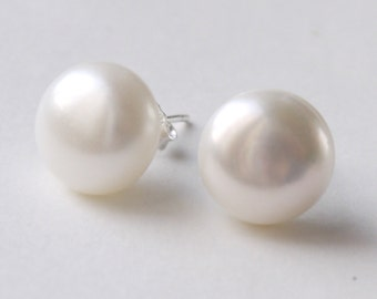 large pearl earrings12mm - 13mm big ivory white freshwater pearl sterling silver stud post earrings 15% OFF