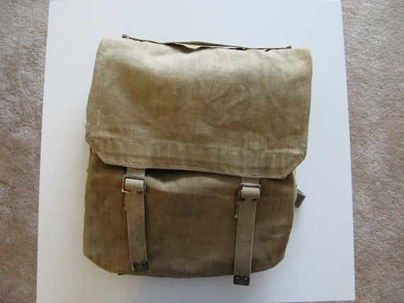 Danish Army Backpack, Canvas Haversack, 1950s