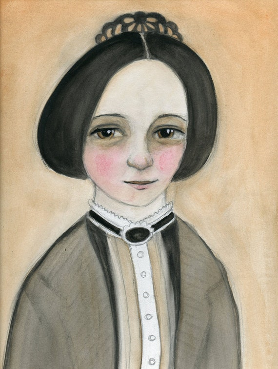 Miss Hannah, Victorian Lady Seamstress, Hand Painted Watercolor Portrait Illustration(6x8) Art Print